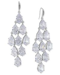 Carolee | Metallic Silver-tone Crystal Chandelier Earrings | Lyst