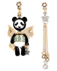 Betsey Johnson | Metallic Gold-tone Panda Fairy Mismatch Earrings | Lyst