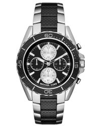 Michael Kors   Metallic Men's Chronograph Jetmaster Two-tone Carbon Fiber Stainless Steel Bracelet Watch 43mm Mk8454 for Men   Lyst