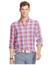 Polo Ralph Lauren - Pink Men's Men's Long Sleeve Plaid Linen Shirt for Men - Lyst