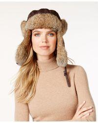 Surell | Brown Rabbit Fur Trim Visor Quilted Trooper Hat | Lyst