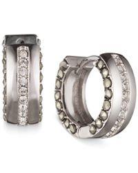 Judith Jack - Metallic Silver-tone Marcasite And Crystal Huggie Hoop Earrings - Lyst