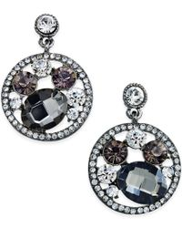 ABS By Allen Schwartz - Metallic Hematite-tone Multi-stone Circle Drop Earrings - Lyst