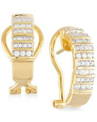 Macy's | Metallic Diamond Semi-hoop Earrings (1/2 Ct. T.w.) In 14k Gold Over Sterling Silver | Lyst