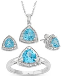 Macy's - Blue Topaz (4-3/4 Ct. T.w.) And Diamond Accent Pendant Box Set In Sterling Silver - Lyst