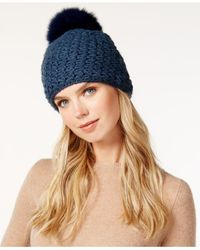 Surell | Blue Acrylic Star Stitched Knit Fox Fur Pom Hat | Lyst