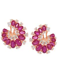 Macy's - Metallic Diamond (1-1/8 Ct. T.w.) And Ruby (8 Ct. T.w.) Earrings In 14k Rose Gold - Lyst