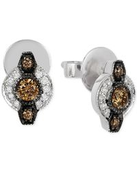 Le Vian | Multicolor Chocolatier Chocolate Deco Estate Diamond (6- 18 Ct. T.w.) Stud Earrings In 14k White Gold | Lyst