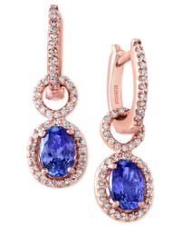 Effy Collection   Blue Tanzanite Royale By Effy Tanzanite (1-1/3 Ct. T.w.) And Diamond (1/3 Ct. T.w.) Drop Earrings In 14k Rose Gold   Lyst