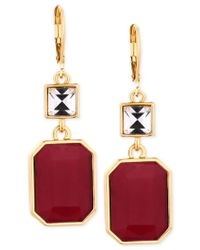 T Tahari | Gold-tone Red Crystal Drop Earrings | Lyst