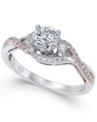 Macy's - Metallic Diamond Two-tone Twist Engagement Ring (3/4 Ct. T.w.) In 14k White And Rose Gold - Lyst