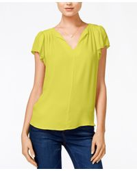 Maison Jules - Yellow Flutter-sleeve Woven Top, Only At Macy's - Lyst