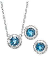 Macy's | London Blue Topaz Pendant Necklace And Earrings Set (2 Ct. T.w.) In Sterling Silver | Lyst