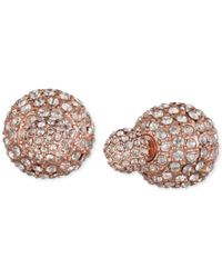 Anne Klein | Pink Rose Gold-tone Crystal Fireball Front And Back Earrings | Lyst