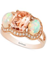 Le Vian | Pink Peach Morganite (1-1/2 Ct. T.w.), Opal (3/4 Ct. T.w.) And Diamond (1/5 Ct. T.w.) Ring In 14k Rose Gold, Only At Macy's | Lyst