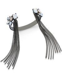 Danielle Nicole - Metallic Hematite-tone Crystal Fringed Cuff Bracelet - Lyst