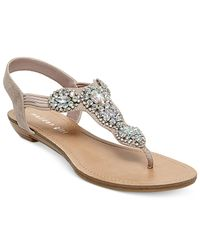 Madden Girl | Pink Tuzzie T-strap Jeweled Sandals | Lyst