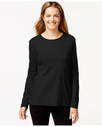 Style & Co. | Black Crew-neck Top, Only At Macy's | Lyst