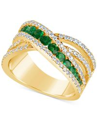 Macy's - Metallic Emerald (9/10 Ct. T.w.) And Diamond (3/4 Ct. T.w.) Crisscross Ring In 14k Gold - Lyst