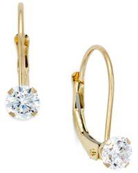 Macy's | Metallic Cubic Zirconia Leverback Drop Earrings (1/2 Ct. T.w.) In 10k Gold | Lyst