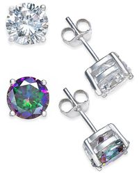 Giani Bernini | Metallic Cubic Zirconia Stud And Mystic Topaz Stud (4 Ct. T.w.) Duo Set Of Earrings In Sterling Silver | Lyst