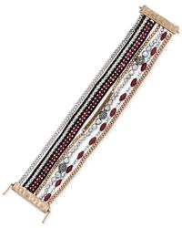 Lucky Brand - Multicolor Two-tone Crystal, Red Stone And Leather Flex Bracelet - Lyst