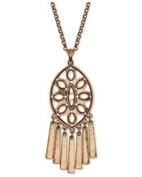 Lucky Brand | Metallic Gold-tone Dreamcatched Fringe Pendant Necklace | Lyst