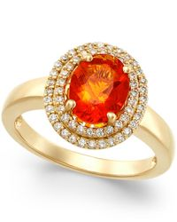 Macy's - Metallic Fire Opal (1-1/10 Ct. T.w.) And Diamond (1/3 Ct. T.w.) Ring In 18k Gold - Lyst