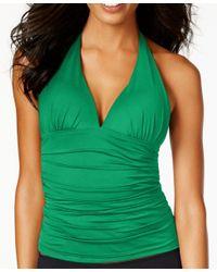 Lauren by Ralph Lauren | Green Tummy-control Halter Tankini Top | Lyst