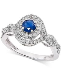 Macy's | Sapphire (1/2 Ct. T.w.) And Diamond (1/2 Ct. T.w.) Ring In 14k White Gold | Lyst