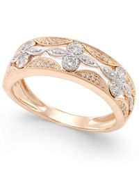 Macy's | Metallic Diamond Deco Flower Ring (1/4 Ct. T.w.) In 14k Rose Gold With White Gold Accents | Lyst