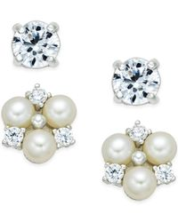 Macy's | Metallic Cultured Freshwater Pearl (4mm) And Cubic Zirconia Earrings(6mm Stone) Set In Sterling Silver | Lyst
