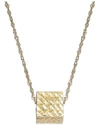 Macy's - Metallic Floating Hammered Cube Pendant Necklace In 10k Gold - Lyst