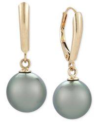 Macy's | Gray Cultured Tahitian Pearl Drop Earrings (10mm) In 14k Gold | Lyst