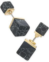 Macy's | Metallic Gold-tone Black Stone Cube Front And Back Earrings | Lyst