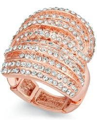 INC International Concepts | Metallic Rose Gold-tone Crystal Criss Cross Adjustable Ring, Only At Macy's | Lyst