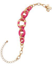 Kate Spade | Metallic Gold-tone Enamel Link Bracelet | Lyst
