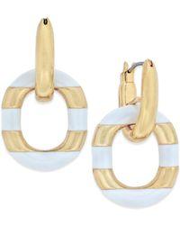 kate spade new york | Metallic Gold-tone Black Enamel Drop Hoop Earrings | Lyst