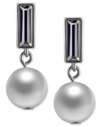 T Tahari - Metallic Hematite-tone Crystal And Imitation Pearl Drop Earrings - Lyst