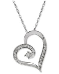 Macy's | Metallic Diamond Heart Pendant Necklace In Sterling Silver (1/10 Ct. T.w.) | Lyst