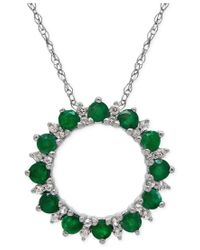 Macy's | Green Emerald (9/10 Ct. T.w.) And White Topaz (1-9/10 Ct. T.w.) Circle Pendant Necklace In Sterling Silver | Lyst