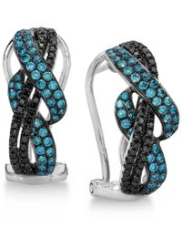 Le Vian   Exotics Gladiator Weave Blue And Black Diamond Earrings (3/4 Ct. T.w.) In 14k White Gold   Lyst