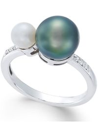 Macy's | Metallic Cultured Freshwater Pearl (8mm And 5mm) And Diamond Accent Ring In 14k White Gold | Lyst