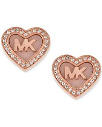 Michael Kors | Metallic Rose Gold-tone Pavé Logo Heart Stud Earrings | Lyst