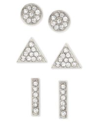 Touch Of Silver | Metallic Set Of Three Crystal Stud Earrings In Silver-plated Metal | Lyst