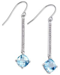 Macy's | Blue Topaz (3-1/2 Ct. T.w.) And Diamond (1/8 Ct. T.w.) Linear Drop Earrings In 14k White Gold | Lyst