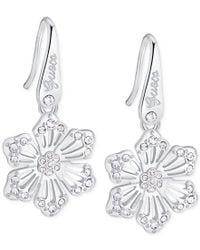 Guess - Metallic Silver-tone Logo Crystal Flower Drop Earrings - Lyst