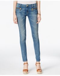 Michael Kors | Blue Zipper-pocket Veruschka Wash Skinny Jeans | Lyst