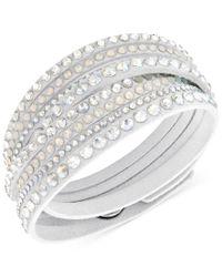 Swarovski   Metallic White Slake Deluxe Crystal Stud Wrap Bracelet   Lyst