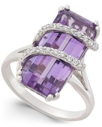 Macy's | Purple Amethyst (6 Ct. T.w.) And Cubic Zirconia Drama Ring In Sterling Silver | Lyst
